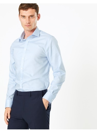 Marks & Spencer T11001030S Ütü Gerektirmeyen Slim Fit Pamuklu Gömlek Mavi
